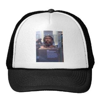 Homo heidelbergensis; museum exhibit trucker hat