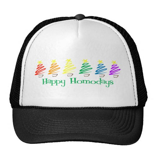 Homodays feliz (árboles de navidad del arco iris) gorros