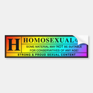 Homosexual Warning Label. Bumper Sticker