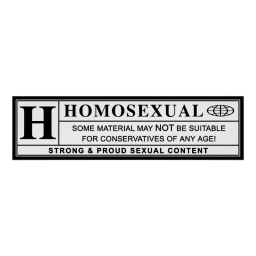 Homosexual Warning Label. Posters