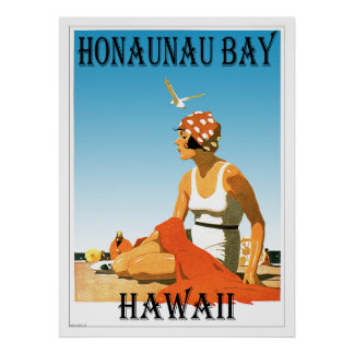 Honaunau Bay Hawaii Beach Retro Poster