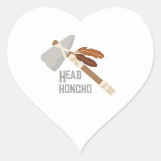 Honcho principal calcomanía corazón personalizadas