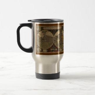 Hondius Antique World Map Metal Travel Mug