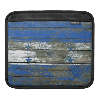 Honduran Flag on Rough Wood Boards Effect Sleeve For iPads