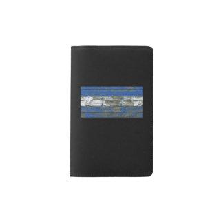 Honduran Flag on Rough Wood Boards Effect Pocket Moleskine Notebook
