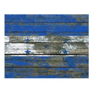 Honduran Flag on Rough Wood Boards Effect Postcard