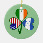 Honduran Shamrock Green Background Christmas Tree Ornament