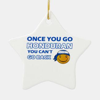 Honduran smiley designs ceramic ornament