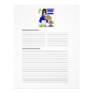 Honduras blank appetizer recipe cards