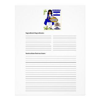 Honduras blank casserole recipe cards