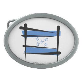 Honduras Brush Flag Oval Belt Buckles