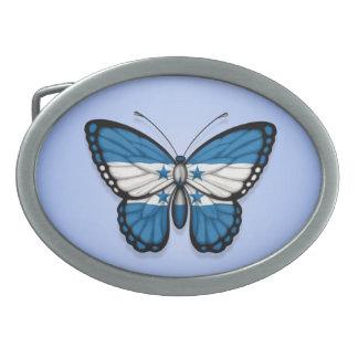 Honduras Butterfly Flag on Blue Belt Buckles