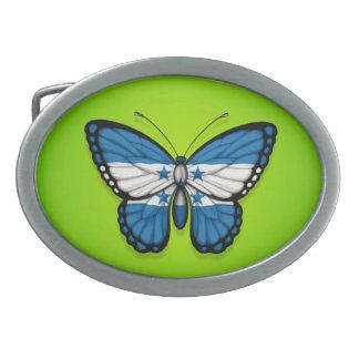 Honduras Butterfly Flag on Green Oval Belt Buckles