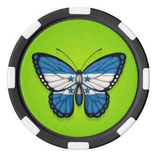 Honduras Butterfly Flag on Green Poker Chip Set