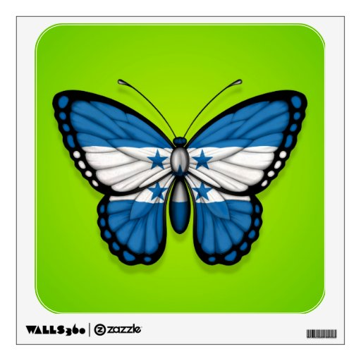 Honduras Butterfly Flag on Green Wall Graphics