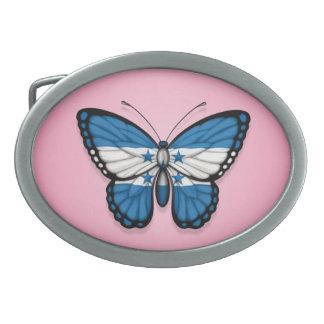 Honduras Butterfly Flag on Pink Oval Belt Buckle