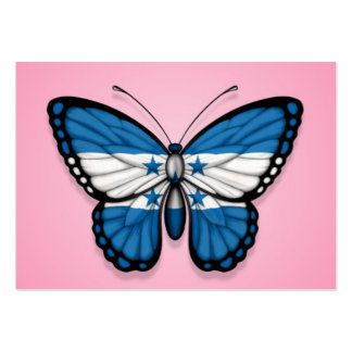 Honduras Butterfly Flag on Pink Business Cards