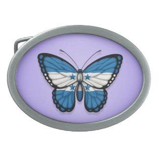 Honduras Butterfly Flag on Purple Oval Belt Buckle