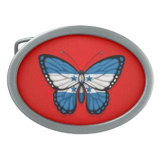Honduras Butterfly Flag on Red Oval Belt Buckle