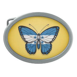 Honduras Butterfly Flag on Yellow Oval Belt Buckle