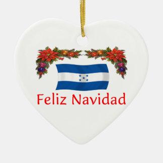 Honduras Christmas Double-Sided Heart Ceramic Christmas Ornament
