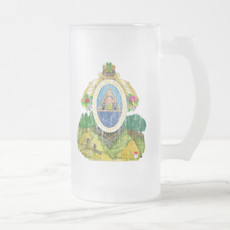 Honduras Coat Of Arms Frosted Glass Beer Mug
