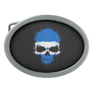 Honduras Dripping Splatter Skull Oval Belt Buckles