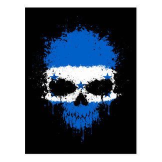 Honduras Dripping Splatter Skull Postcard