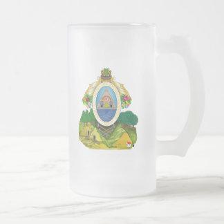 honduras emblem frosted glass beer mug