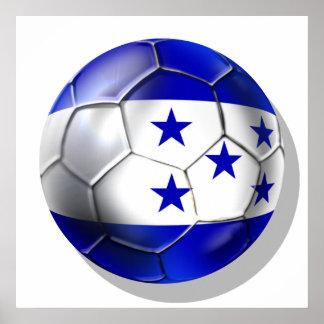 Honduras flag 5 star soccer ball futbol fans gifts poster