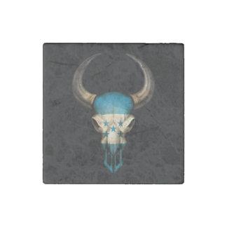 Honduras Flag Bull Skull Stone Magnet