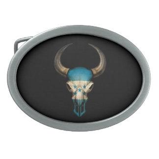 Honduras Flag Bull Skull on Black Belt Buckle