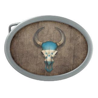 Honduras Flag Bull Skull on Wood Effect Oval Belt Buckles