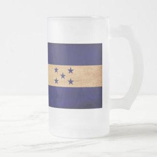 Honduras Flag Frosted Glass Beer Mug