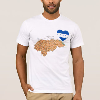 Honduras Flag Heart and Map T-Shirt