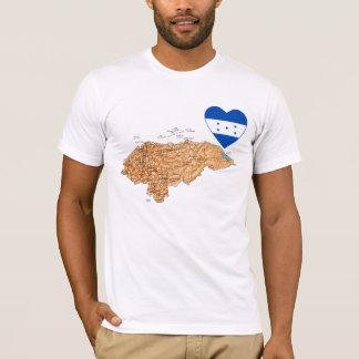 Honduras Flag Heart and Map T-Shirt