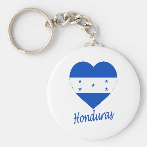 Honduras Flag Heart Basic Round Button Keychain
