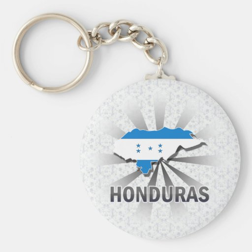 Honduras Flag Map 2.0 Keychains