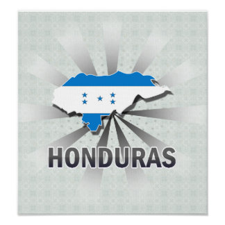Honduras Flag Map 2.0 Poster