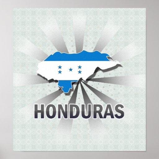 Honduras Flag Map 2.0 Poster