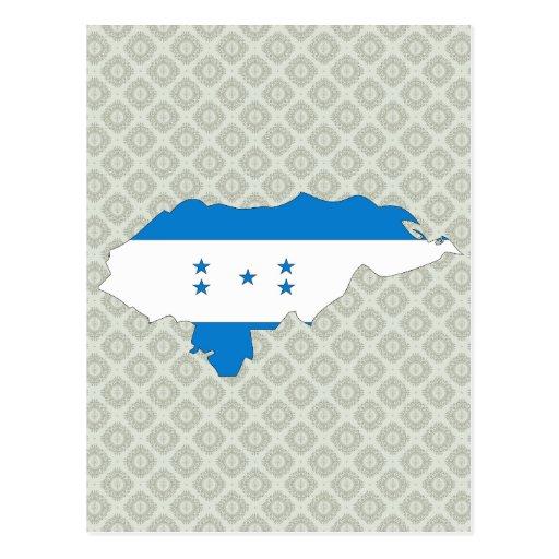 Honduras Flag Map full size Post Cards