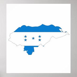 Honduras Flag Map full size Poster