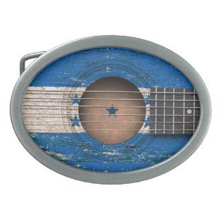 Honduras Flag on Old Acoustic Guitar Belt Buckle