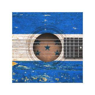 Honduras Flag on Old Acoustic Guitar Stretched Canvas Prints