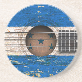 Honduras Flag on Old Acoustic Guitar Drink Coaster