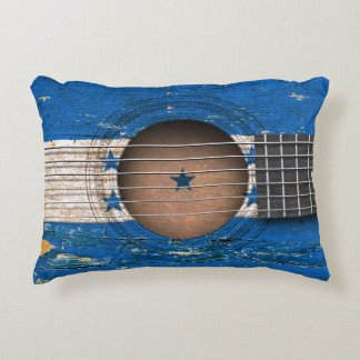 Honduras Flag on Old Acoustic Guitar Accent Pillow