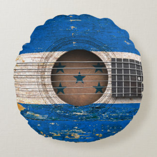 Honduras Flag on Old Acoustic Guitar Round Pillow