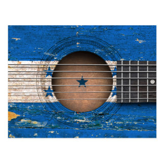Honduras Flag on Old Acoustic Guitar Postcard