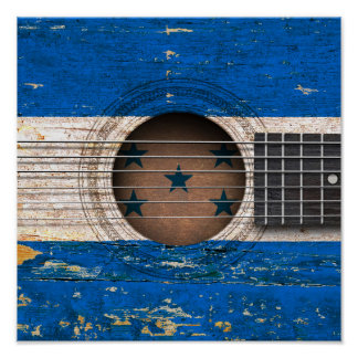 Honduras Flag on Old Acoustic Guitar Posters