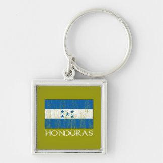 Honduras Flag Silver-Colored Square Keychain